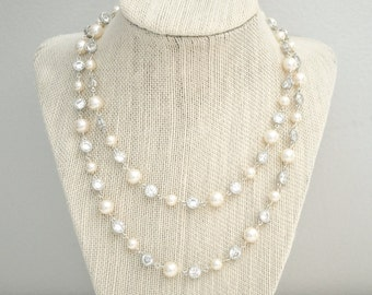 Double Strand Wedding Necklace, Bridal Necklace, Pearl and CZ  Necklace, Wedding Jewelry