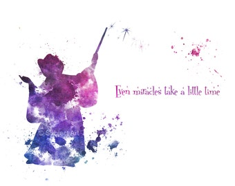 ART PRINT The Fairy Godmother Quote 'Even Miracles take a little time' illustration, Disney, Cinderella, Home Decor, Nursery, Childrens Art