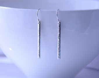 Hammered silver earrings, Sterling silver earrings