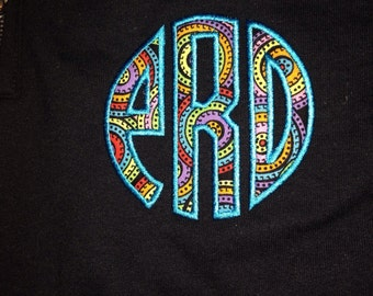Monogram with initials or sorority letters quarter zip black with bright color applique