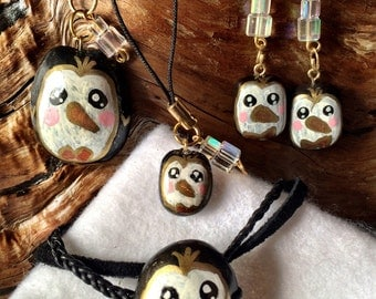 Hand-Painted Penguin Polymer Clay Jewelry Set - Necklace, Bracelet, Earrings, Phone Charm/Zipper Pull, Crystal Accents