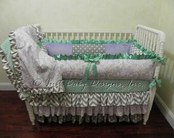 Custom Baby Bedding Set Waverly - Girl Crib Bedding, Lavender Baby Bedding, Mint Crib Bedding