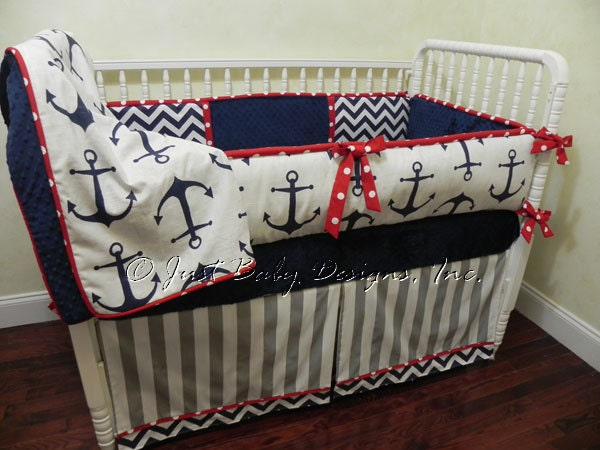 Nautical Baby Bedding Set Sebastian Boy Baby Bedding Anchor