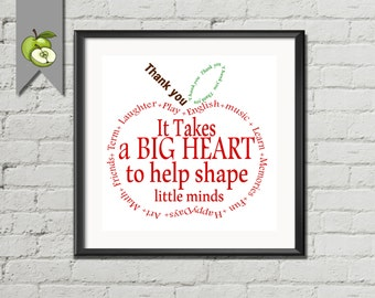 Teacher Gift, Appreciation Apple,  Thank you, wordart, Instant Download Typography word cloud, retirement Quote it takes a big heart to help