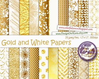 Gold and White Papers, White & Gold Glitter, wedding digital scrapbooking paper with hearts, damask, geometrics, polka dots, chevron