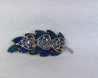 Vintage Blue and Teal Brooch