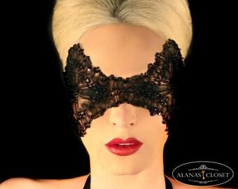 Black beaded couture mask - Sophia