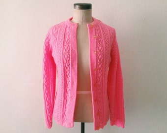 80s Hot Pink Knit Sweater