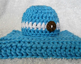 Blue Baby Blanket & Hat Photography Prop Set Newborn Blue Chunky Knit Crochet Photo Prop Layering Blanket Blue w/ White Stripe Baby Hat