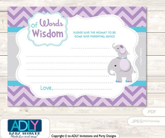 chevron purple elephant words of wisdom advice card for baby shower