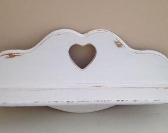 White Wood Wall Shelf, Nursery Shelf,Large Heavy Oak Wood Plate Groove Wall Shelf, SHABBY CHIC,Farmhouse,Wall Hanging Shelf