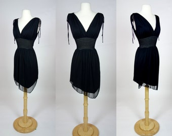 1990's sheer black dress, sleeveless v neck mini dress w/ asymmetrical hem, fit and flare summer sun dress, Small to medium US 6 to 8