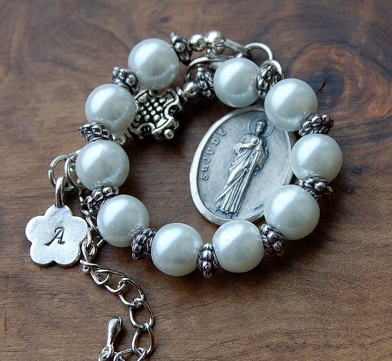 catholic saints bracelet items similar to jude chaplet catholic bracelet 2526