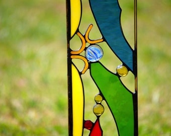 Garden Decoration, Colorful Stained GlassYard Art, 'Cheers'