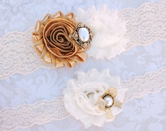 Wedding Bridal Garter Set - Champagne Wedding - Vintage Gold & Ivory Lace Garter w/ Pearl Details - Golden Wedding - Gold Bridal Garter Set