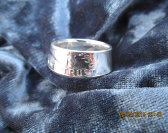 COIN RING made from a 1950 Ben Franklin Half Dollar, A NEW unsized Mens / Mans ring 66 year old American 90% silver coin