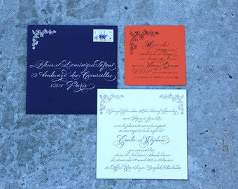 custom stamp for wedding invitation in navy orange and white tampon sur mesure faire part save the date ou annonce de naissance diy - Faire Part Mariage Etsy