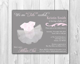 3D Tutu Baby Girl Shower Invitations | Tutu Excited (8 Invitations and 8 Envelopes)