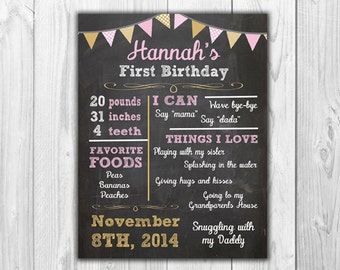 Pink and Gold or Pink and White Chalkboard Birthday Stats | Digital File