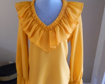 Vintage 1970s Two-Piece Evening Gown, Maxi Dress by Joy Stevens in a juicy tangerine color.