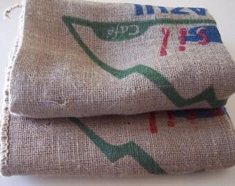 Lot Of Two Burlap Coffee Bag Sacks