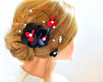 Black and red fascinator Floral headpiece Bridal hair clip Black headpiece Wedding fascinator Wedding hair accessories Hair pin
