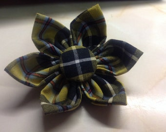 Cornish Tartan Fabric brooch with St Piran Flag button centre.