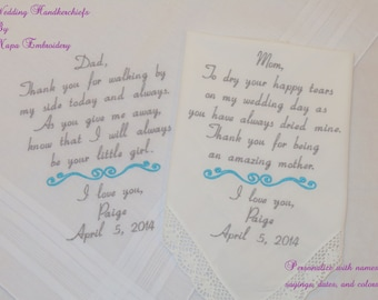 Father of the Bride Mother of the Bride Hankerchiefs Mom Dad Embroidered Wedding Handkerchiefs Personalized Gifts for parents of the bride