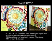 "DAISY DAYS 10""x10"" Original Painting - Signed - Abstract Mod - Acrylic Art"