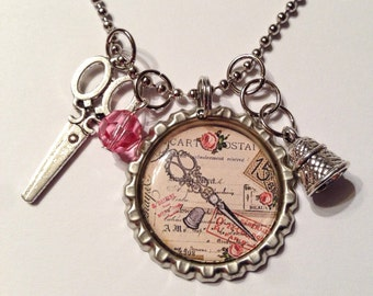 Sewing necklace, seamstress, sewing jewelry, sew