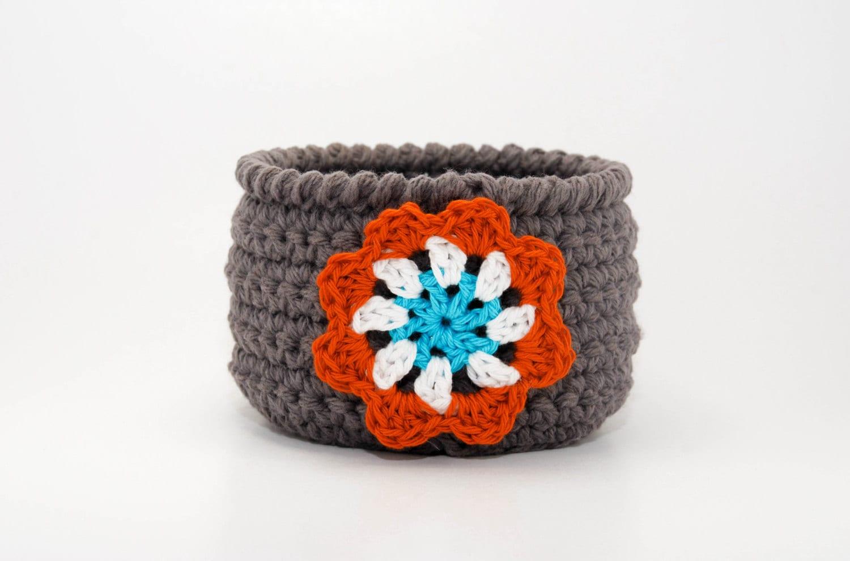 Handmade Crochet Basket : Handmade crochet bowl woven basket storage bin home