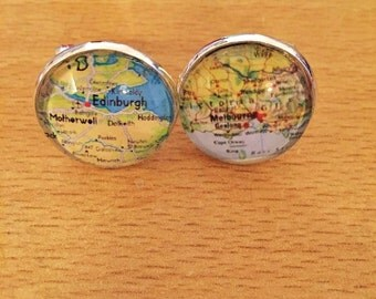 Personalised Map Cufflinks - Your Choice of Location - handmade
