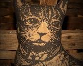 3 Vintage Look Tabby Cat and Kitties, Primitive Cat, Primitive Doll, Tabby Cat, Fabric Cat, Printed Cat, OFG, HAFIR, FAAP