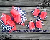Navy and Coral Hair Bows Coral Peach and Navy Blue Chevron Ribbon Bow Made to Match Dress dresses Easter Pastel Smocked outfit baby outfit