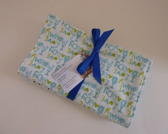 Set of 3 baby boy burp cloths in flannel and minky dot