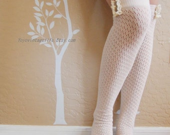 Small size! Beautiful long socks , cute boots socks. Lacy blue long boot socks,Birthday gift for your girls