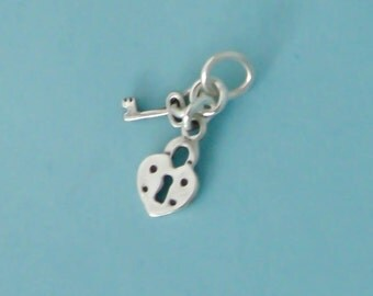 Sterling Silver Tiny Small Heart Lock and Key Charms Set, Mini Key to My Heart