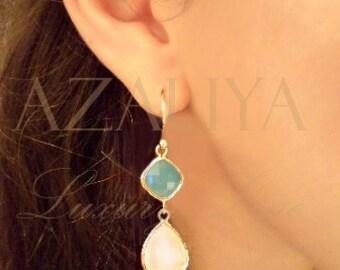 Mint & Pink Opal Chandeliers Gold Vermeil. Azaliya Luxury Line. Bridal Jewelry, Bridesmaids Earrings. Gift.