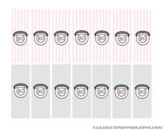 DIY mini chocolate bar wrappers in pinks.  Printable file