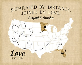 Custom Map for Long Distance Relationships, Glitter Map Gift , United States USA Map, Names, Date, You Choose Quote, Gold Decor Accents