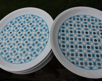 Vintage Mikasa dishes, Retro MYSTIC D 1501 Mikasa Cera-Stone dinner plates, 1970 retro dinnerware, retro dinner plates, retro kitchen dishes