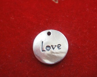 925 sterling silver oxidized love charm disc, silver love disc
