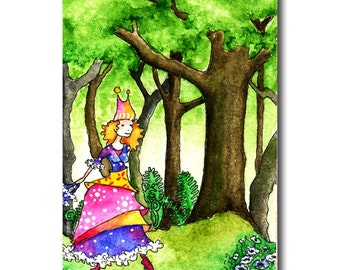Postcard of whimsical girl walking in forest colourful