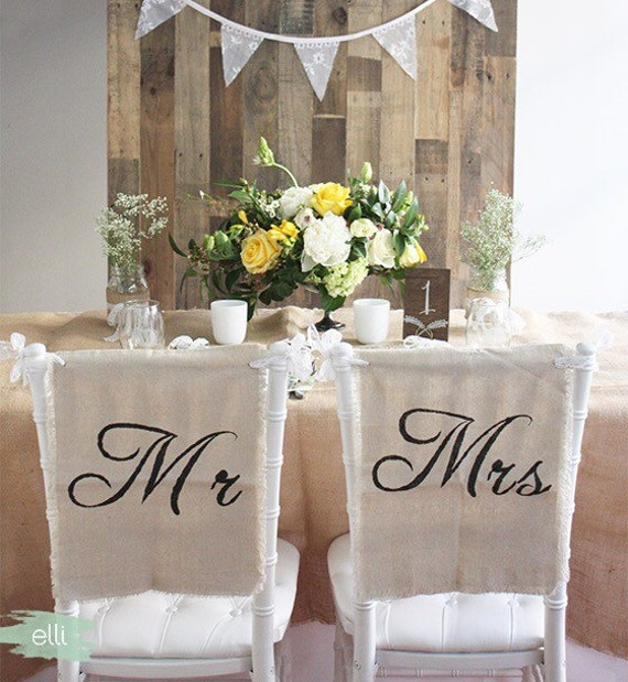 rustic linen lace mr and mrs wedding chair cover signs