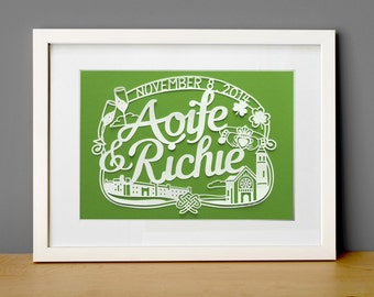 11x17 in Custom Papercut for Irish Wedding , Anniversary decoration and gift