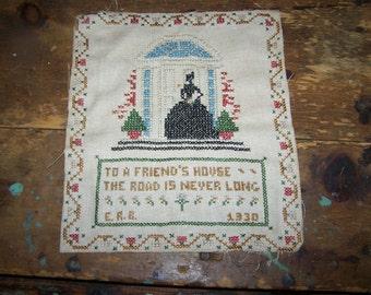 Circa 1930's Folk Art Hand Stitched Friendship  Motto  Sampler