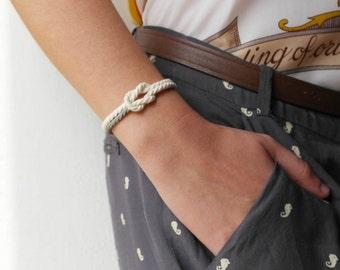 Cord bracelet Navy bracelet Knot bracelet Nautical bracelet Rope bracelet white and silver cord marine bracelet - MANEGE