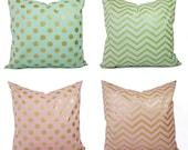 Metallic Gold Pillow Covers - Mint Pillow Covers - Pink Pillow Covers - Decorative Pillows - Chevron Pillows - Polka Dot Pillows