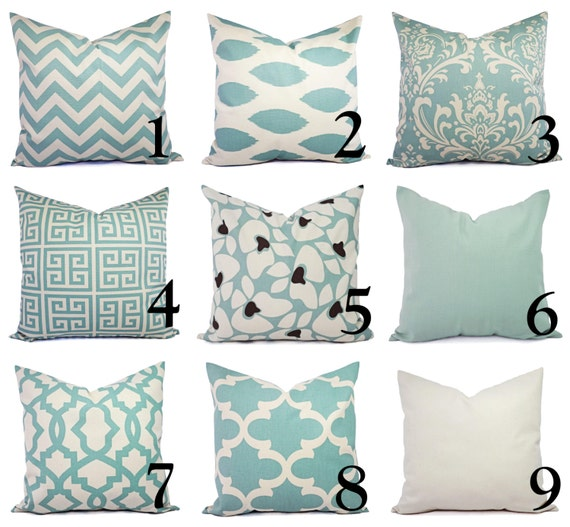Spa Blue Throw Pillows : One Spa Blue and Beige Pillow Covers Throw Pillow Covers