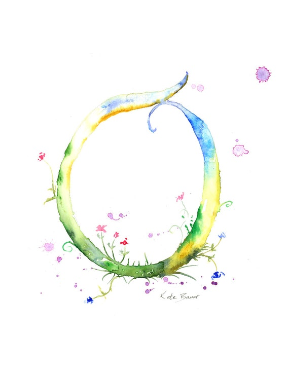 Letter O Watercolor Monogram Flower Lettering